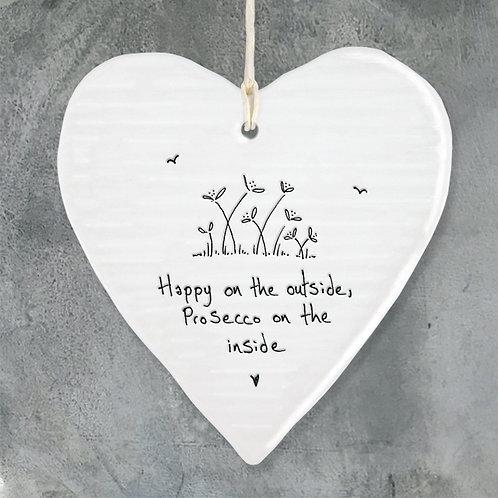 Happy On The Outside Porcelain Heart