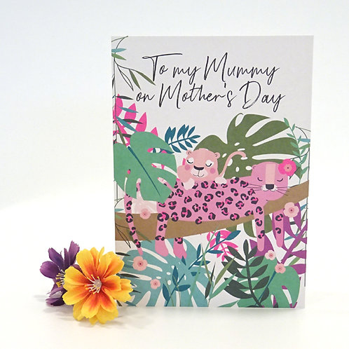 leopard design mothers day card