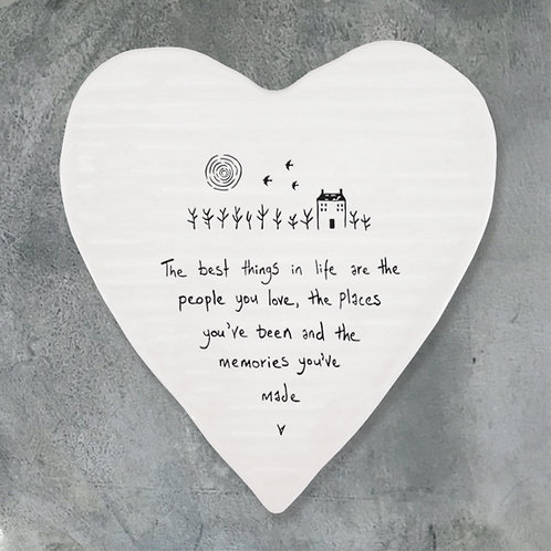 People, Places and Memories Porcelain Heart Coaster
