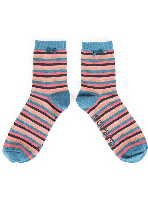 Powder Design Stripe Ankle Socks Teal