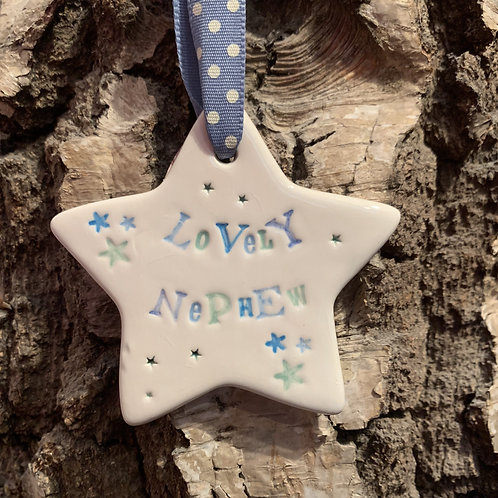 glazed star hanging gift for nephews