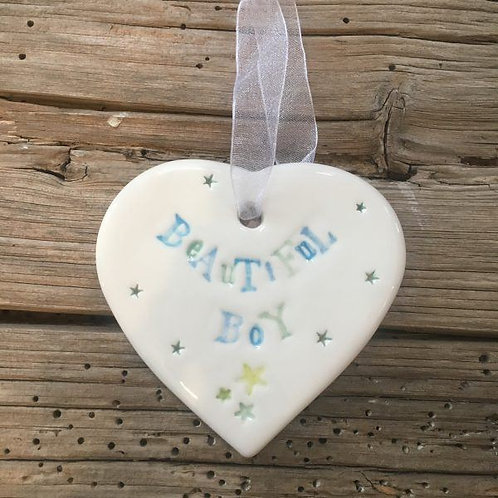 Beautiful Boy ceramic gift heart