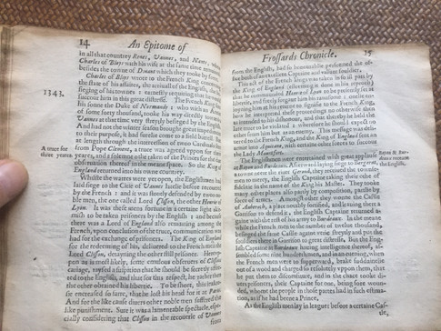 EPITOME of Froissart published 1608