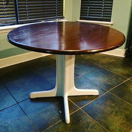 Dining room table refinish with stained top and painted base