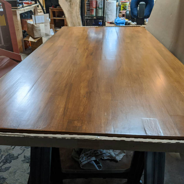 repaired DIY finish on ikea tabletop