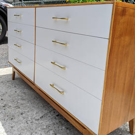 1960s walnut dresser refinish/repair with painted drawers and restored brass hardware