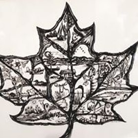 Maple Leaf Pen and Ink Art