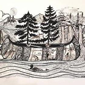 Canoe Pen and Ink Art