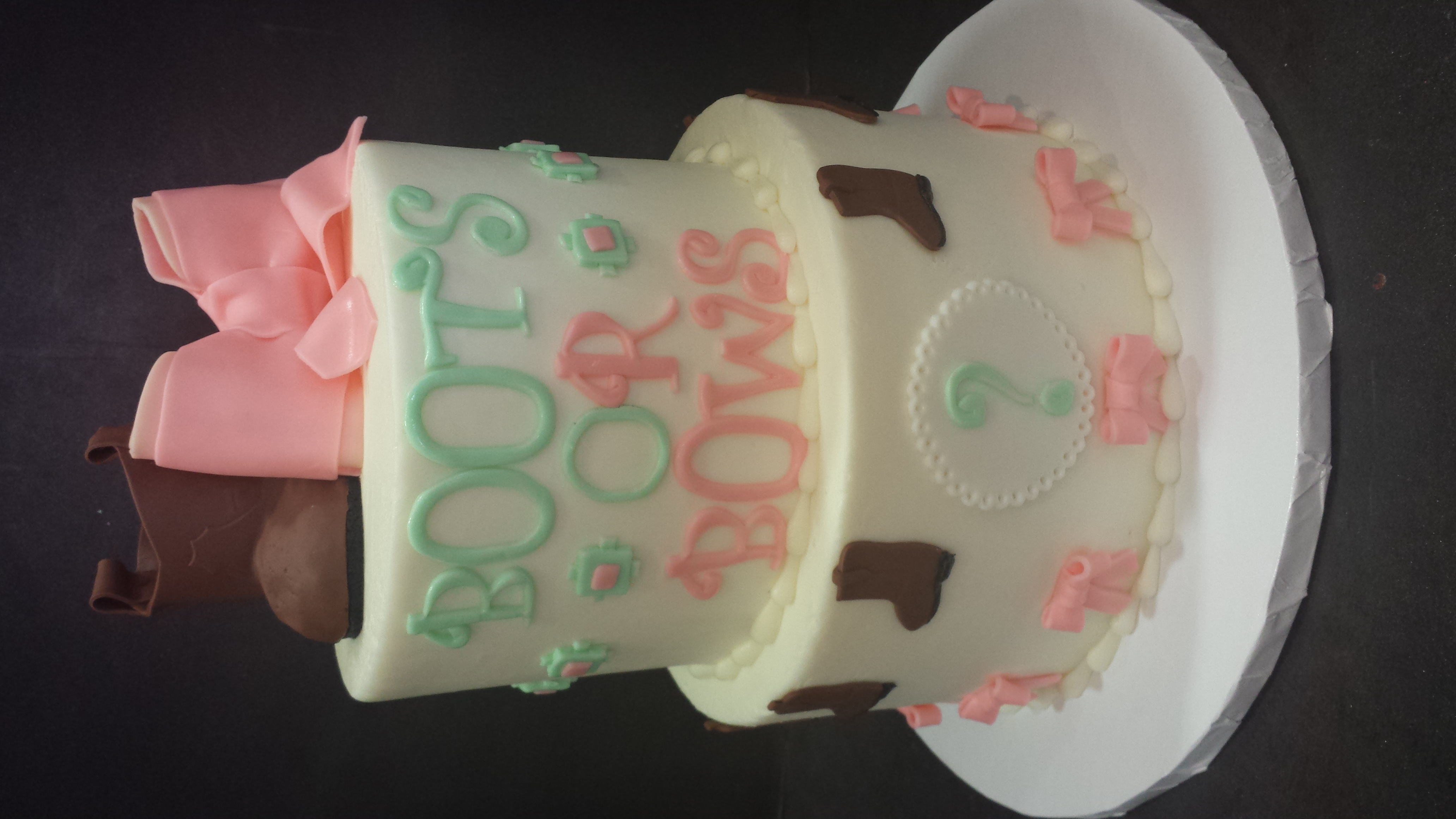 Boots or Bows Gender Reveal Cake