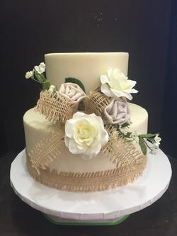 Burlap two tiered wedding cake
