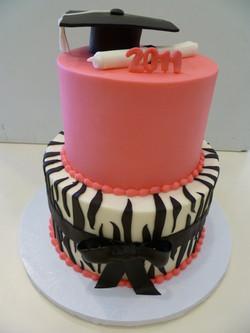 pink zebra graduation cake