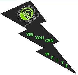 """Lightning bolt with the Veteran Voices Newsletter logo with the tag phrase """"Yes You Can Write!"""""""