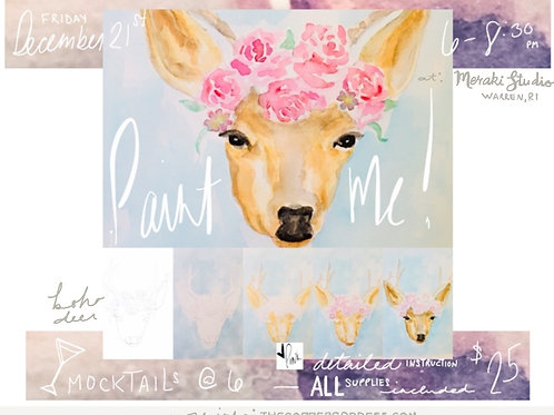 Boho Deer Watercolor Workshop