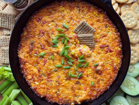 Cheesy Baked Pimento, Corn and Lobster Dip