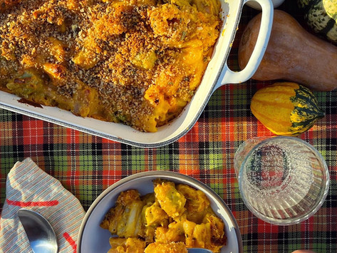 Pumpkin Mac and Cheese with Roasted Butternut Squash and Brown Butter Sage Breadcrumbs