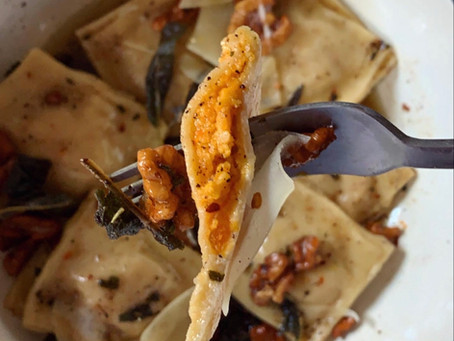 Handmade Butternut Squash Ravioli with Browned Butter, Sage, and Walnuts
