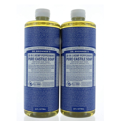 Dr. Bronner's Organic Soaps Pure-Castile Soap, 18-in-1 Hemp Peppermint,  2 Pack