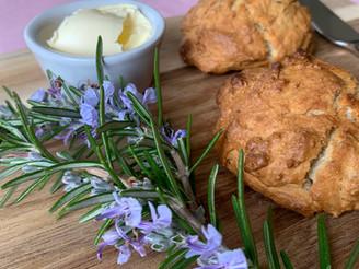 Savoury Vegan Scones with Rosemary Flowers