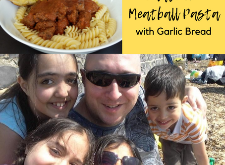 Easy and Delicious Tomato Free Meatball Pasta with Garlic Bread for Tomato Allergy