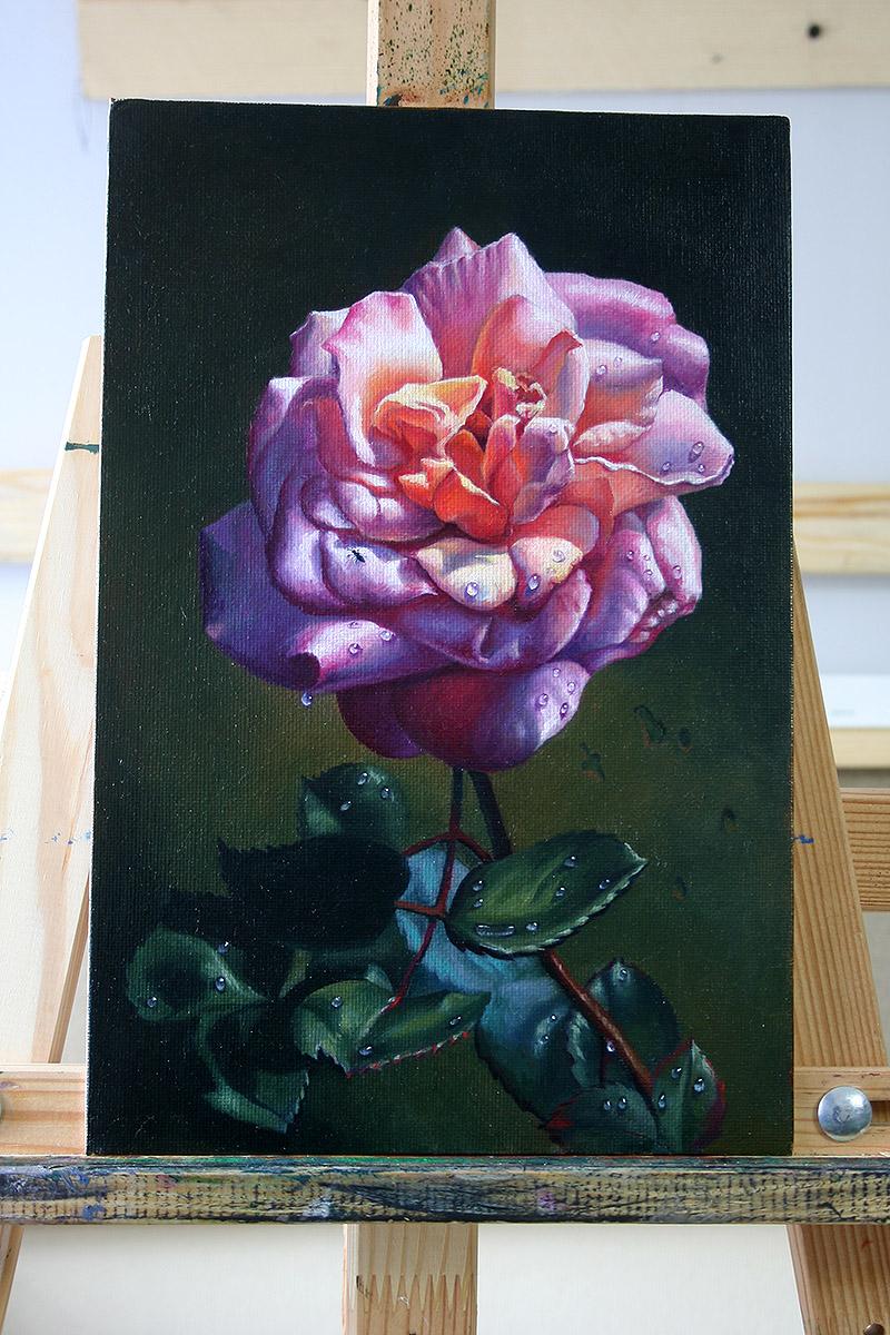 """Картина маслом """"Роза с муравьем"""""""