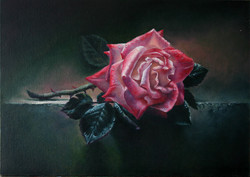 "Картина маслом ""Роза на столе"""