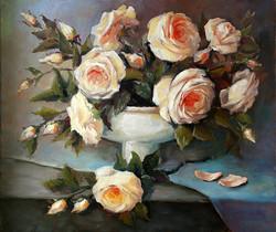 """Картина маслом """"Снежные розы"""""""
