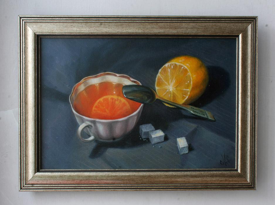 """Картина маслом """"Чай с лимоном"""""""