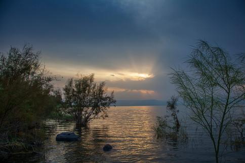 frühmorgens am See Genezareth