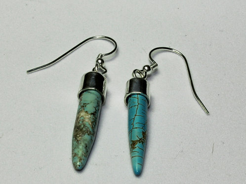 silver and turquoise stick drop earrings