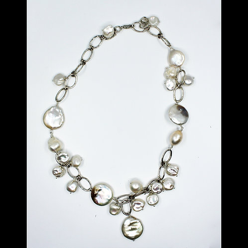 coin and baroque pearl necklace