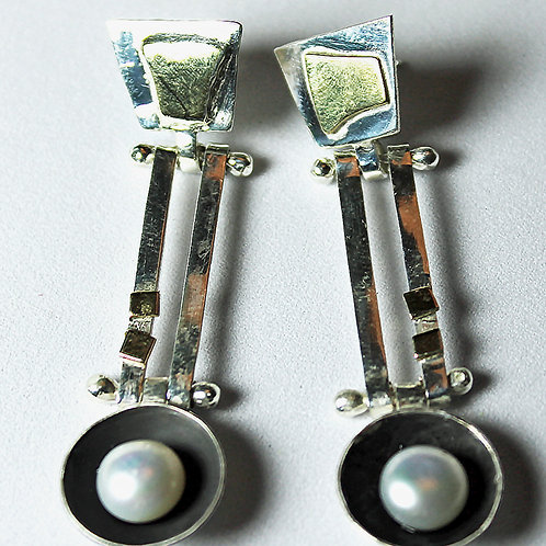 post earrings with brass, silver, pearl and patina