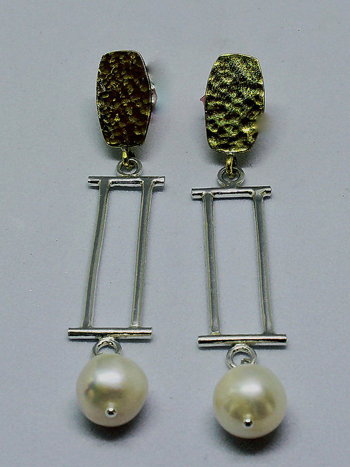 post earrings in rich brass and sterling silver with pearl