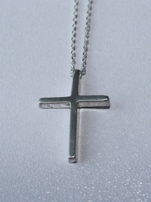small cross on silver chain with pearls
