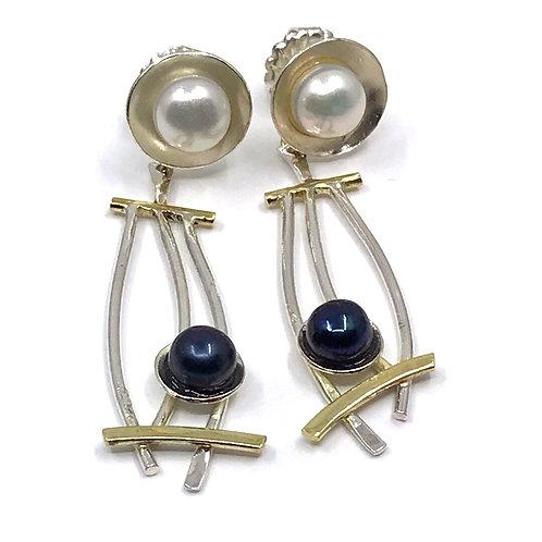 drop stud earrings two tone