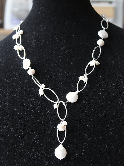 coin pearl and heavy silver link necklace