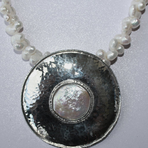 Large Disc Pearl Necklace