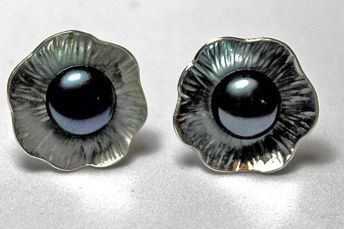 sterling silver textured flower earrings black pearl