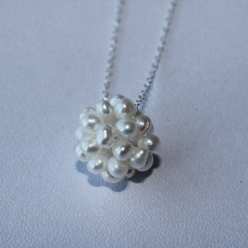 silver necklace with cluster of freshwater pearls