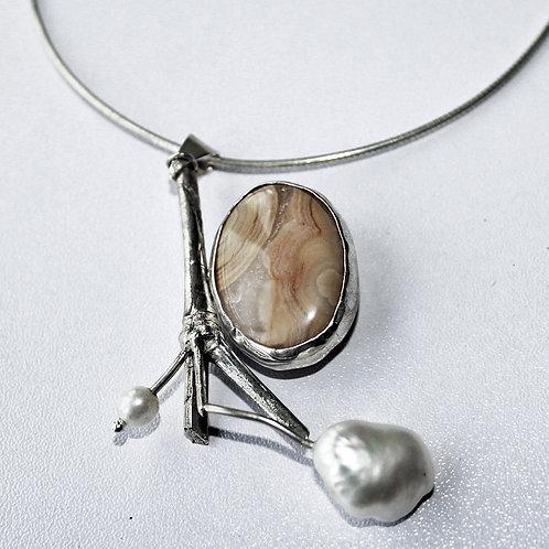 jasper and pearl pendant