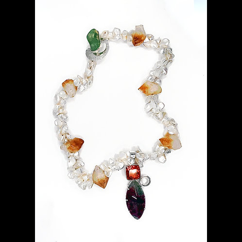 jasper, citrine and pearl necklace