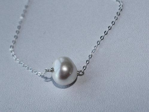 simple silver pearl pendant
