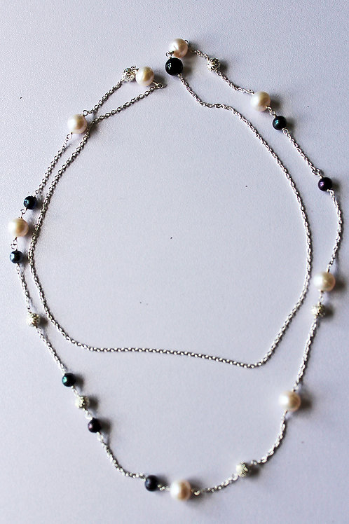 necklace with silver balls and fossil stones