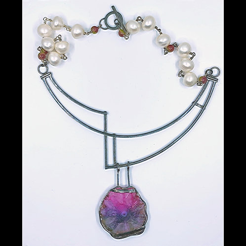 druzy amethyst and pearl necklace