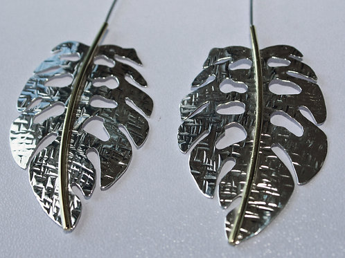 sterling silver and brass leaf earrings