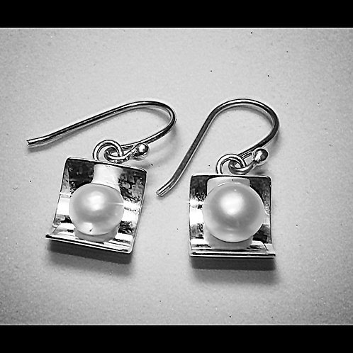Silver and Pearl half cup earrings