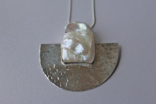 semicircle pendant with keshi pearl