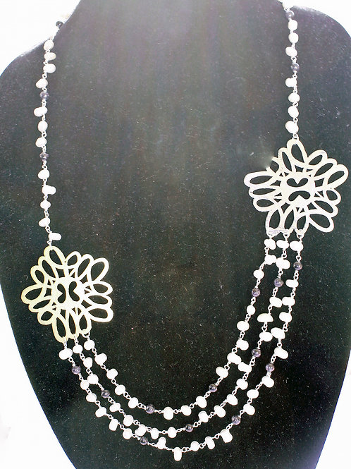 Silver, bass and pearl necklace