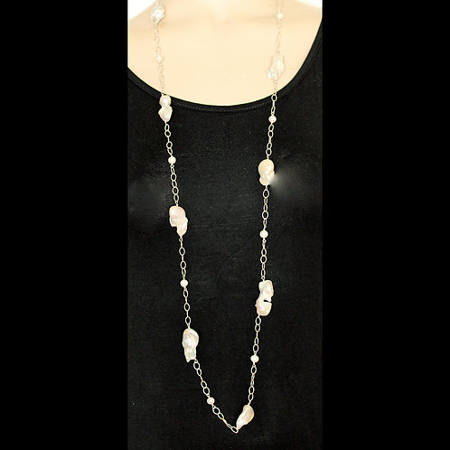 long silver chain with ten baroque pearls