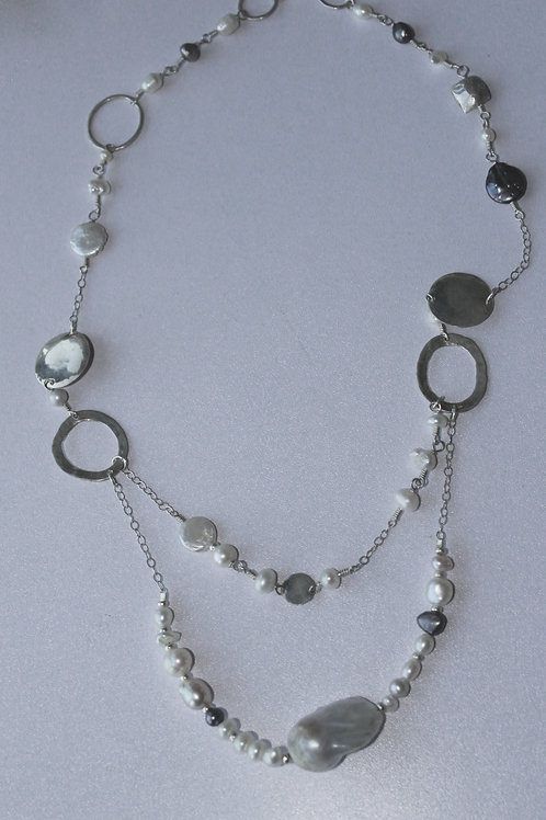 two strand silver and pearl necklace