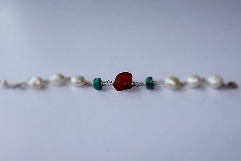 Coral, Pearl and Turquoise Bracelet